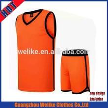 15 season men sport basketball jersey custom basketball uniform design orange sleeveless dry fit basketball jersey suppliers