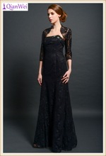 2015 new arrival elegant black strapless mermaid mother of the bride lace dresses with jacket