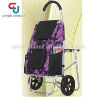 600D Shopping Cart With Chair Folding Shopping Cart Bag Purple Shopping Wheeled Trolley