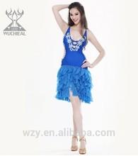 Professional dance costume spandex Lady Sexy tassels latin dancewear china