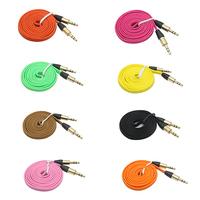 200pcs/LOT 3ft braided fashion 3.5mm green orange black audio cable