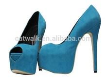 15cm blue wedges heel sexy peep toe woman shoes platform high heels
