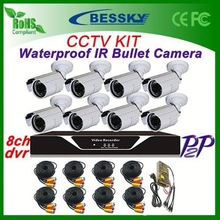 Factory High Definition 8pcs Outdoor Waterproof IR Camera + H.264 8ch DVR CCTV Security System android external usb camera