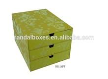Elegant and luxury flocking flowers printing drawer box for office storage
