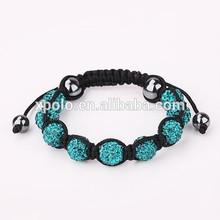 2015 fashion Handmade spring Aqua blue crystal ball woven bracelets wholesale price