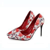SAA4093 2015 spring the latest Korean broken flowers printed ladies beautiful women high heel pumps shoes