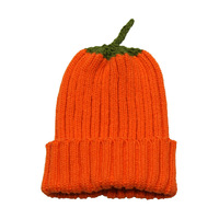 Hallowmas Funny Child Acrylic rib knitting Pumpkin hat beanie