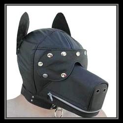 Pvc Leather Bondage Dog hood /Fetish puppy mask/blindfold/adult fun sex toys