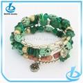 Vente en gros la mode drak green perles. trois couche de résine bracelet vintage