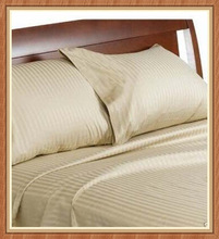 Fashions Color Deluxe Cotton Striped Bed Sheet Sets -----Beige
