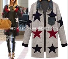 2015 fashion stars pattern ladies long cardigan knit sweater coat