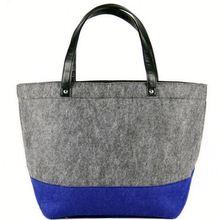 Fashion new customized low cost handmade 100% wool Felt Tote Bag Grey & Blue