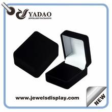 2015 velvet black custom logo printed jewelry boxes packing box