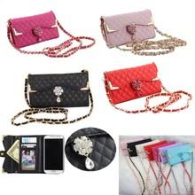 Bling Wristlet handbag Leather Flip Wallet Case For Samsung S3 S4 S5 Note 4 3 2