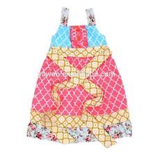 Modern Organic Cotton Flower Girl Casual Quatrefoil Dress Baby Girl Frock Fancy Smoking Dress For Kids