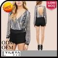 sexy v profundo transparente causal verão design elegante 2015 chiffon floral blusas para as mulheres