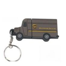 Custom logo PVC material truck shape pen usb flash drive with keychain