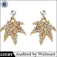 Pave setting gold plated maple leaf earring,leaf shape earrings