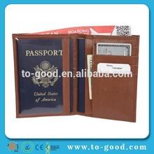 Brown Color Access Denied RFID Blocking Ostrich Grain Leather Passport Holder Wallet