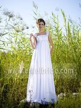 MK07 Side Strap Ruched Square Neck Empire Waist Description of Wedding Dress