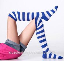 blue stripes knee high white women socks sexy China sox