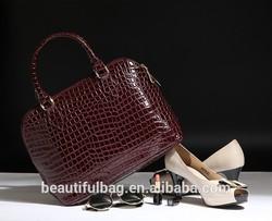 Oriflame Women Brown Crocodile Embossed Shoulder Tote Bag leather handbags