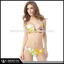 Tree Leaf Print Sexy Open Bikini Hot Ladies Swim Wear