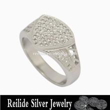 Waving shape fashion designer white gold plated men ring with CZ stone