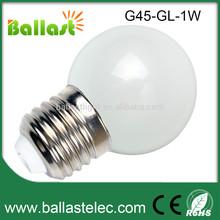 Low Power consumption E27 G45 1w led globe light bulbs
