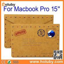 China Samdi Retro Envelope Postcard Design Magnetic Flip PU Leather Pouch for MacBook Pro 15 inch/13 inch