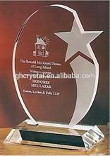 Sandblasted crystal star corporate award crafts