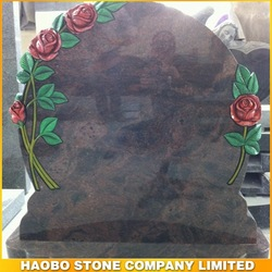 Haobo Marble Headstone with Carving Rose/Sunflower/Lily