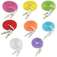 100pcs/LOT colorful flat 3.5mm headphone jack y splitter audio adapter cable