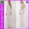 sexy laço branco backless long bandage manga longa sereia vestidos de noite partido na china kf480