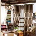 jacquard de poliéster escuro café cozinha de tecidos para cortinas