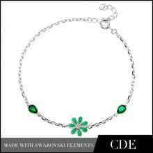 Valentine's Day Gift New European Green Crystal Charms Life Bracelet Bangle Plum Flower 925 Silver Enamel Bracelet