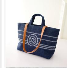 Brand woman fashion stripes canvas handbag China wholesale funky girls handbags
