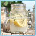 2015 New design glass mason jar with handle 12 oz