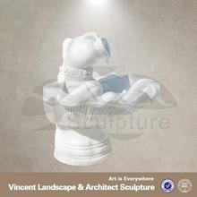 2015 high quality home decor white marble lion head water fountain