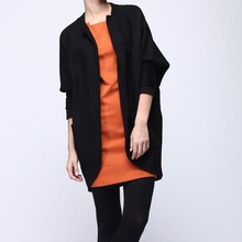 Fashion gray doted woolen single button women coat