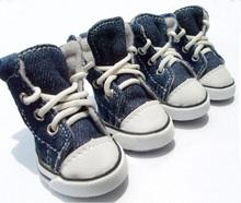 Four Seasons PU sports fashion pet shoes dog shoes casual breathable outdoor canvas cowboy blue dog shoes