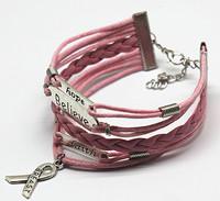 2015 Hot Multilayer Braided Bracelets , Vintage Believe & Hope&Faith infinity bracelet leather bracelet & Bangle DH-TGBT20150146