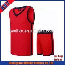 Latest design youth basketball jerseys 100polyester plain red basketball uniforms cheap china basketball jersey supplier