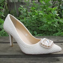 2015 new arrival white bridal low heel wedding shoes