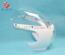"ZJMOTO 5 3/4"" ABS Headlamp Fairing Front Fairing Masks Cafe Racer Drag Racing Sportster 39mm Motorcycle Headlight Fairing"