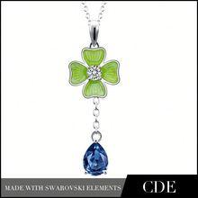 2015 Cherry Blossom Enamel Jewelry Pendant Jewelleri Bijoux Bijouterie Manufactur Necklac Blue Crystal Enamel Flower Pendant