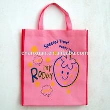 pink strawberry cartoon reusable shopping bag, non woven bag for girls