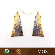 Jewelry factory Custom two tone plated zinc alloy fashion long earring for girl