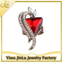 Fashion big heart crystal 18k ruby ring
