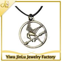 Fashion hunger game Mockingjay leather charm necklace